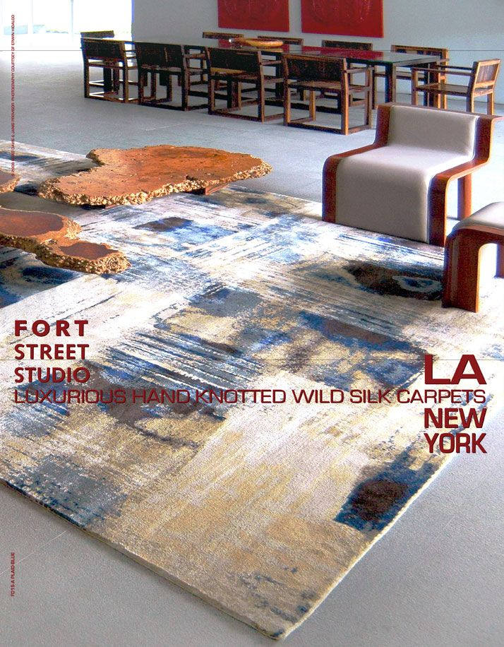 Fort Street Studios Plaid Blue Rug Advertisement As Seen In World Of Interiors New