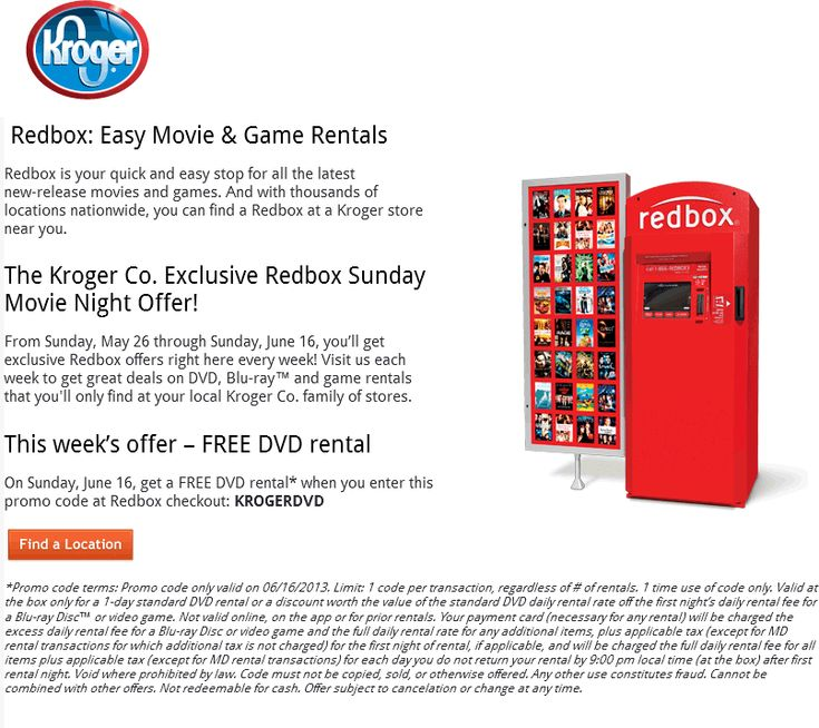 Pinned June 11th: Free DVD rental Sunday at Kroger Redbox locations via promo code KROGERDVD coupon via The Coupons App