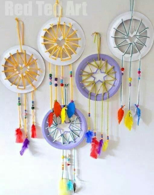 Paper plate dream catchers, doable