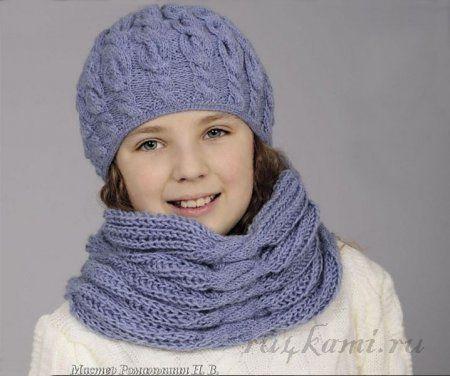 Шапка спицами для девочки и шарф