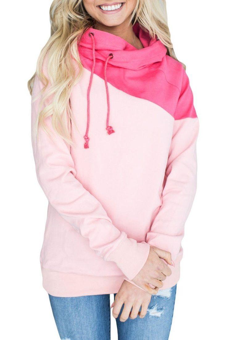 Chic Cute Pink Duotone Chic Hooded Sweatshirt ChicLike.com