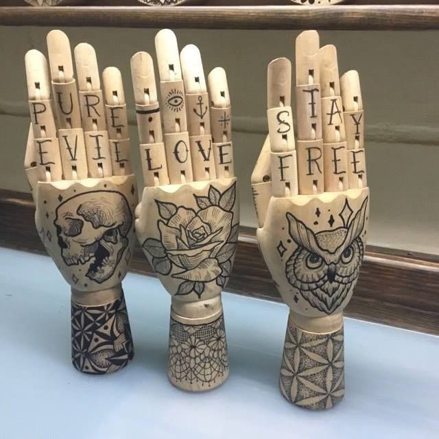 wooden hands by me for sale on my etsy  mandala flower of life geometric pattern lacey owl rose skull stay free     https://www.etsy.com/listing/496243958/wooden-hand-mannequin-with-tattoo-style?ref=listing-shop-header-0