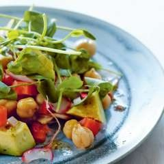 Chickpea, Avocado, and Pea Shoot Salad with Orange Dill Dressing ...