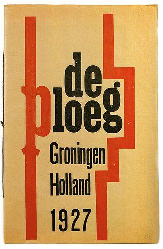 H.N. Werkman - Exhibition invite for De Ploeg (Art collective of Groningen), 1927