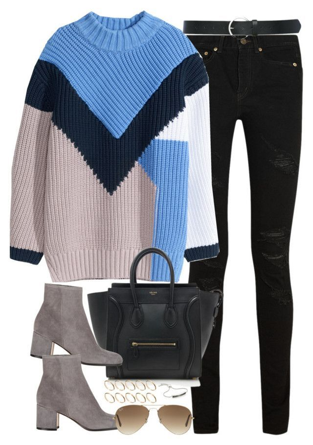 Sin título #1094 by osnapitzvic ❤ liked on Polyvore featuring Yves Saint Laurent, H&M, CÉLINE, Gianvito Rossi, ASOS, Monica Vinader, Ray-Ban, M&Co, women's clothing and women