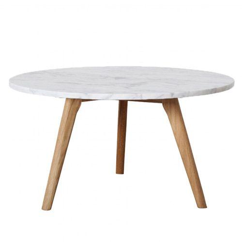 Mesa redonda baja de café MARBLE de madera y mármol blanco Macael de 40cm de diámetro.