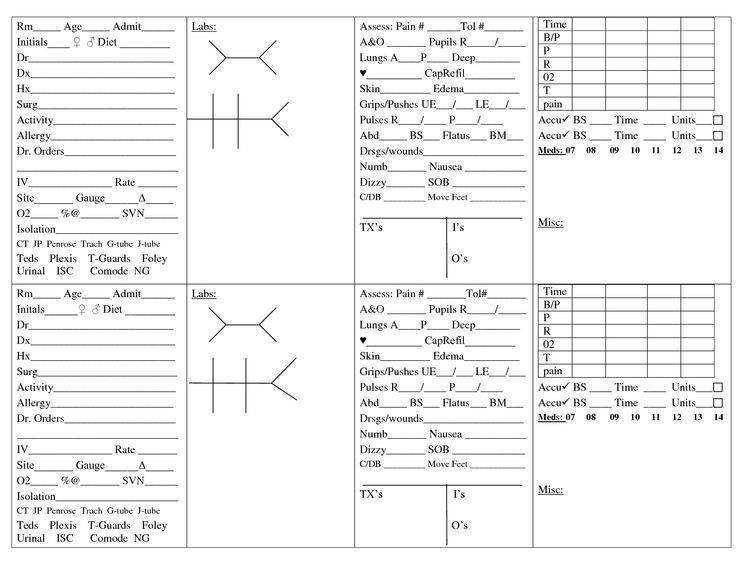 nurse brain sheet template - Google Search                                                                                                                                                      More