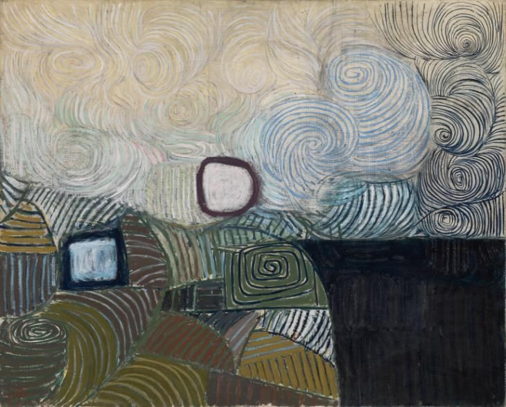 Victor Pasmore 'Spiral Motif in Green, Violet, Blue and Gold: The Coast of the Inland Sea', 1950 © Tate