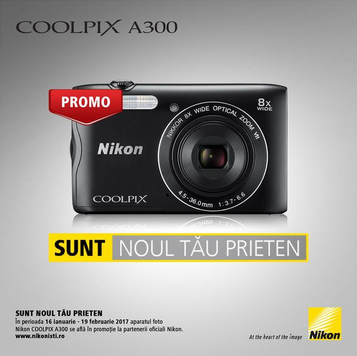 In perioada 16 ianuarie - 19 februarie 2017 aparatul foto NIKON COOLPIX A300 se afla in promotie la partenerii oficiali Nikon