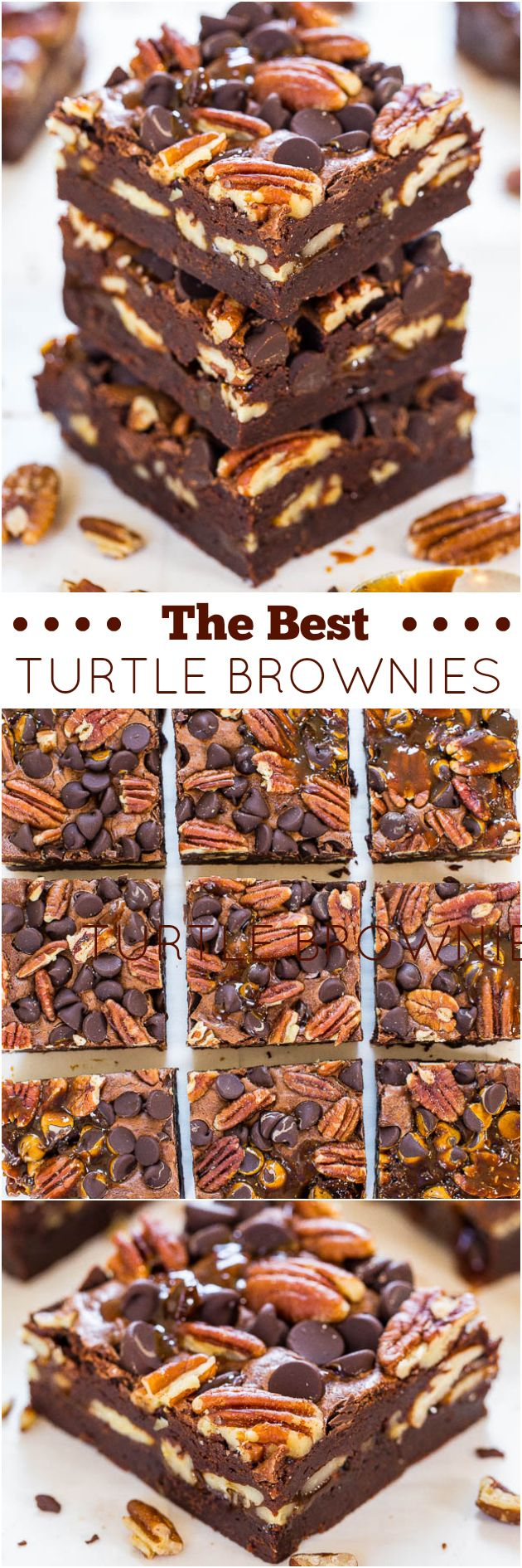 The Best Turtle Brownies - Super fudgy and loaded with chocolate, pecans and caramel! So.crazy.good!!! Impress your mom on #MothersDay with these!