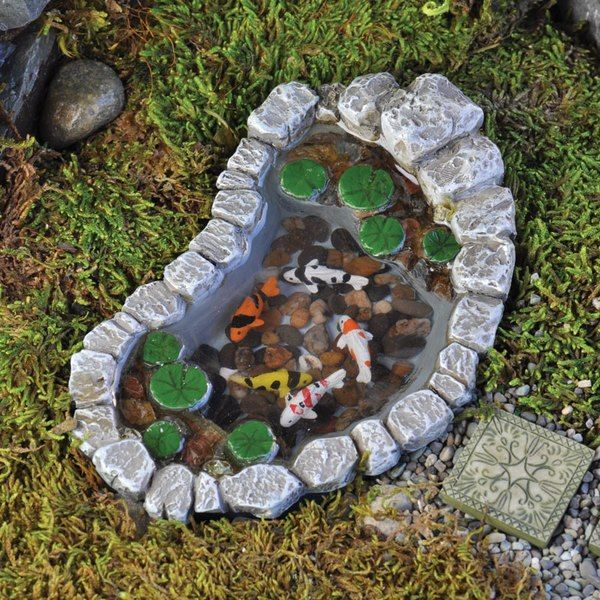 Miniature Dollhouse FAIRY GARDEN Accessories ~ Stone Look Koi Pond ~ NEW