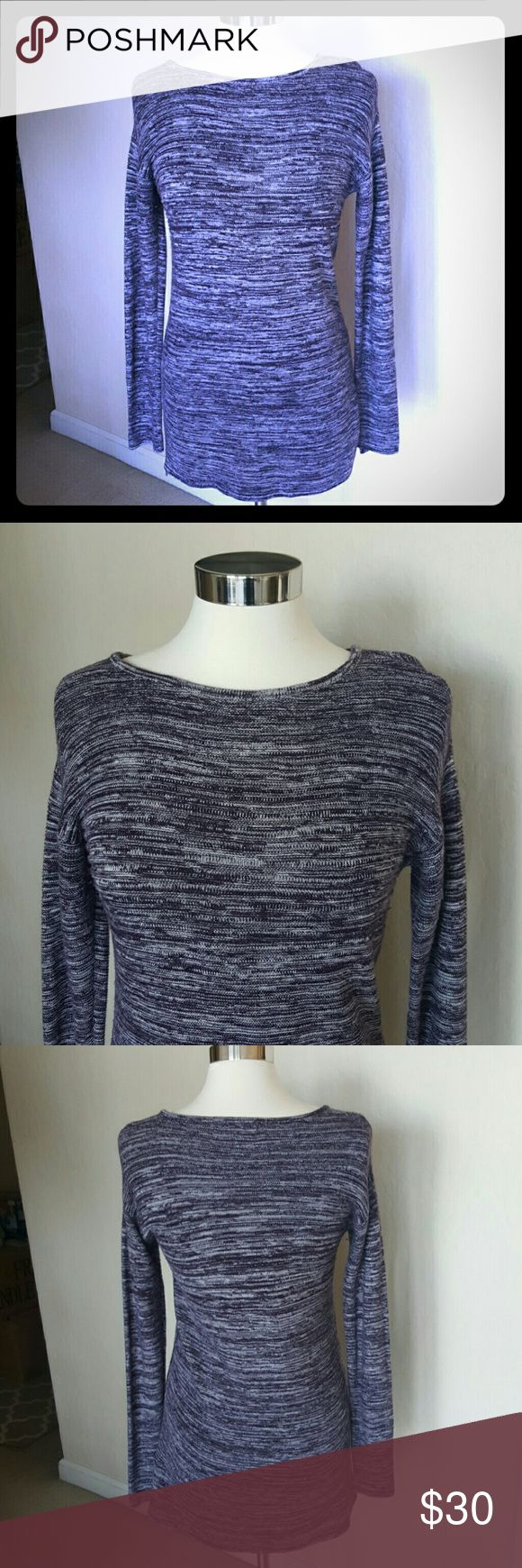 Ellen tracy sweater Cozy ellen tracy cotton/acrylic sweater. Purple/white fabric. Measures approx 29 inches. Great with leggings, boots or jeans. Ellen Tracy Tops Blouses