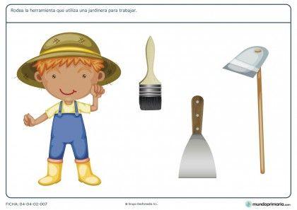 Ficha de herramientas del jardinero para primaria fichas for Jardinero en ingles