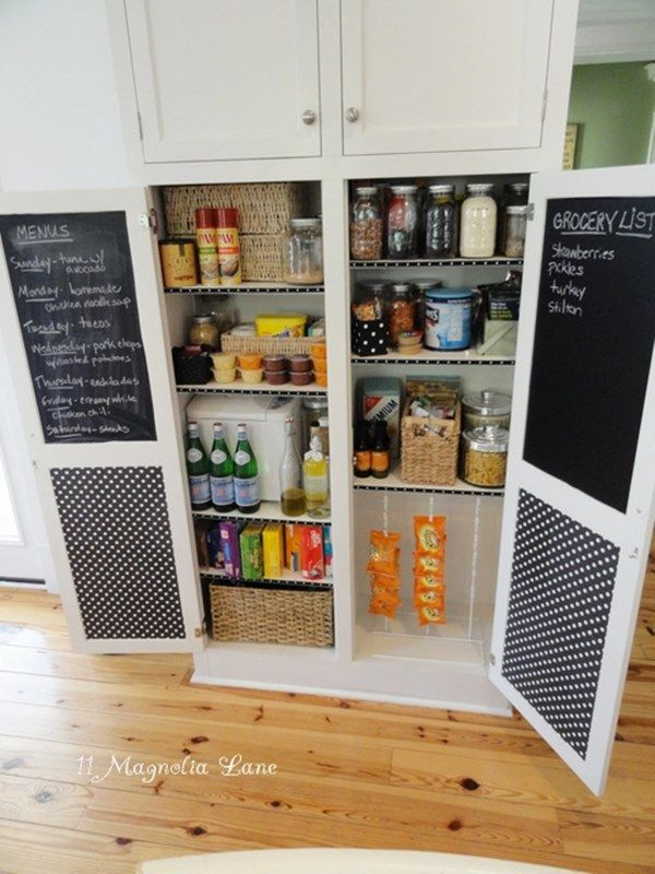 30 Awesome DIY Projects for Home Organization... but I love the chalk boards on the inside of cabinets for notes & lists.