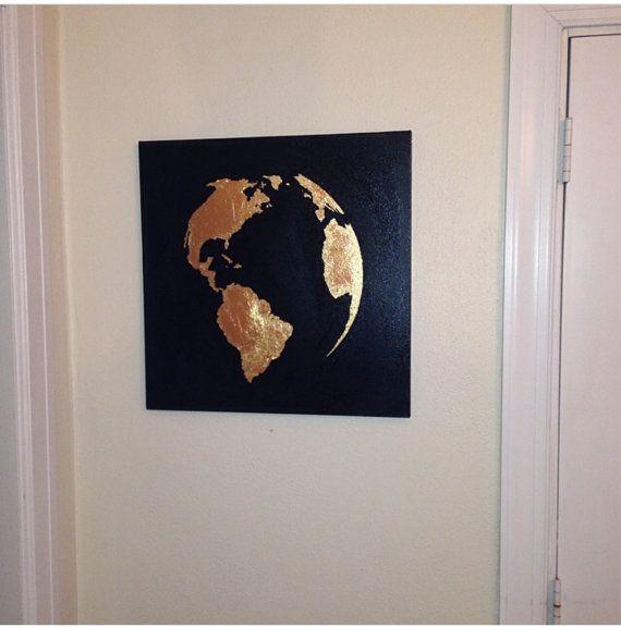 Carte de peinture les dorures du globe monde gole par 10kiaatstreet
