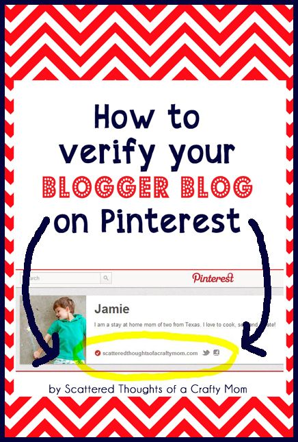 How to Verify Your Blogger Blog on Pinterest (doesn't seem to work since I switched to the New Look on Pinterest, but was super-easy before!)