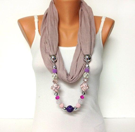 ON SALE pink jewelry scarf  dusty pink scarf with by BienBijou, $22.50