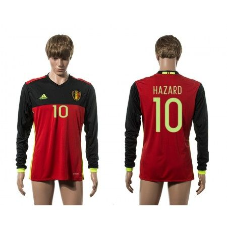 Belgien 2016 #Hazard 10 Hjemmebanetrøje Lange ærmer,245,14KR,shirtshopservice@gmail.com
