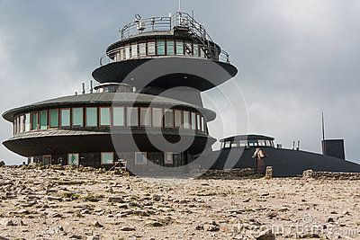 Meteorological observatory at the top of the mountain called Śnieżka.