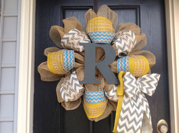 "Chevron Burlap Gold and Turquoise with Grey Hospital door with a ""B""  =)  Later replace the""B"" and use an ""H"" for (FRONT door)"