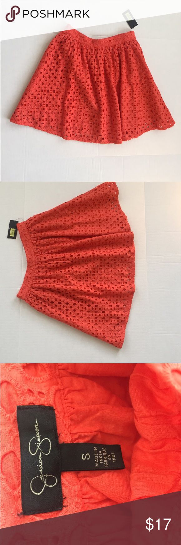 Jessica Simpson hot coral skirt Zipper in the back with clasp, never worn, small, brand new with tags Jessica Simpson Skirts