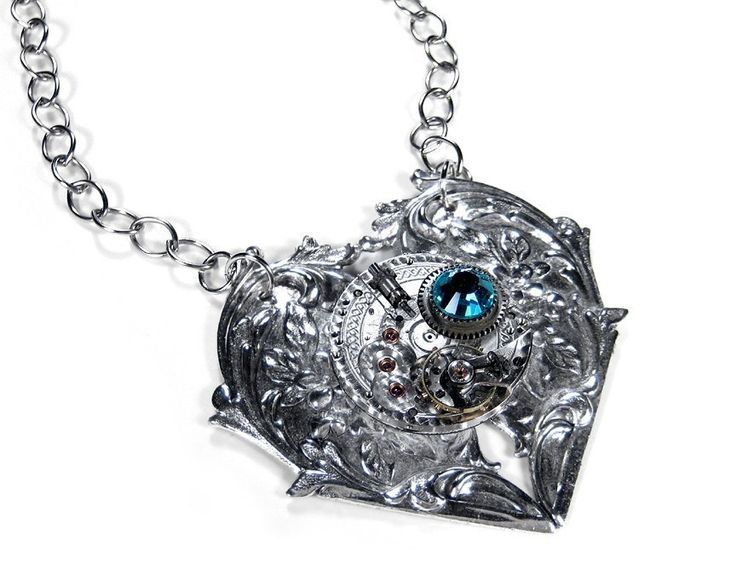 Steampunk Necklace Silver Pocket Watch on HEART by edmdesigns, $165.00