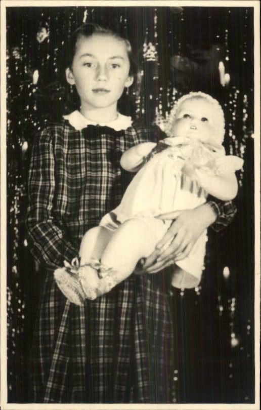 Little Girl & Large Dolly Doll 1938 Real Photo Postcard
