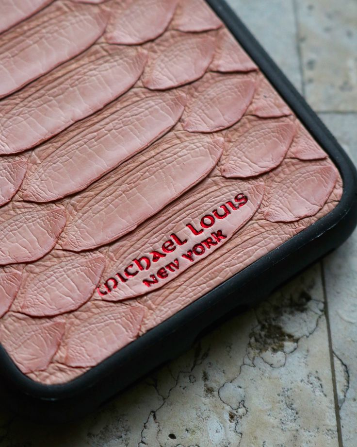 Pink Python stamped with Michael Louis New York logo in Red.   Personalize your own, https://michaellouis.com/collections/leather-iphone-x-cases