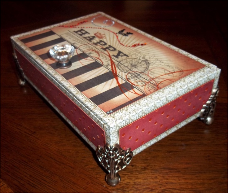 465 best altered boxes containers images on pinterest for Cardboard cigar box crafts