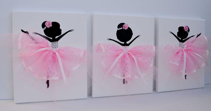 Ballerine pépinière art mur en rose et blanc. Décor par FlorasShop