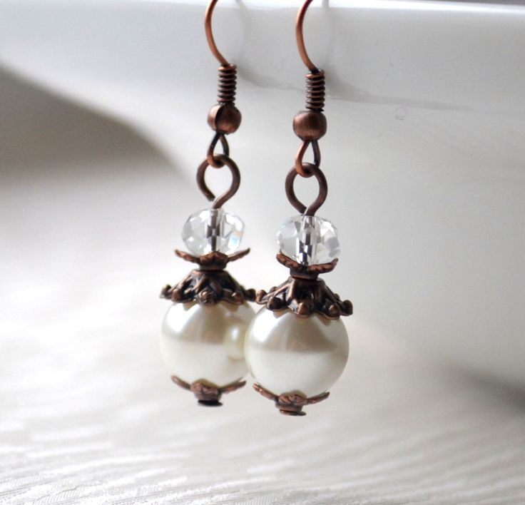Bridesmaid gift Ivory rustic bridesmaids earrings Rustic jewelry Beaded jewelry Wedding earrings Woodland weddings jewelry by LaurinWedding on Etsy https://www.etsy.com/listing/216677266/bridesmaid-gift-ivory-rustic-bridesmaids