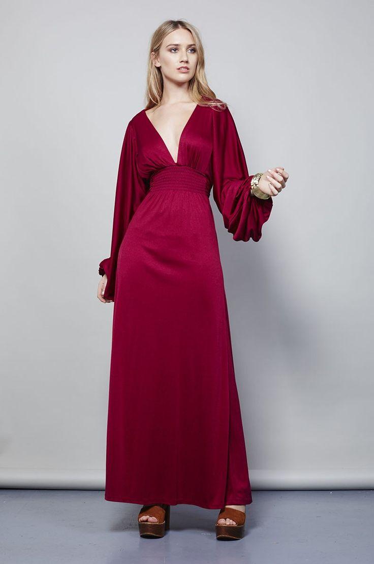 VINTAGE 1970'S BALLON SLEEVE OSSIE CLARK MAXI DRESS