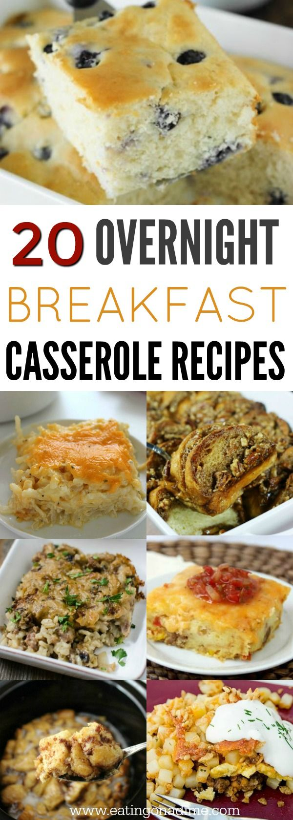 You will love these overnight breakfast casserole recipes. 20 make ahead breakfast casserole recipes to make mornings a breeze. They are so delicious!