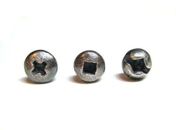 Choisissez DEUX Boutons d'oreilles petite vis en Argent Sterling oxydé. Boucles d'oreilles pour hommes et femmes. UNE Paire. Quincaillerie.