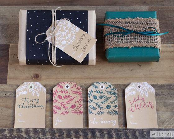 Printable Kraft Evergreen Holiday Gift Tags - Ellinée journal | DIY Blog