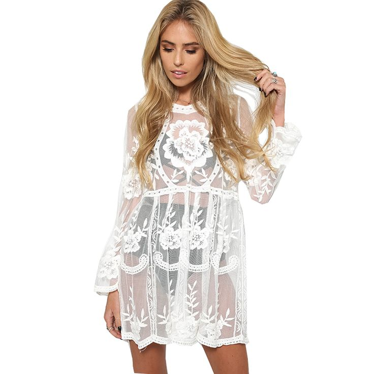 Smoves Flare Sleeve Floral Loose Fit See Through Women's Lace Dress Embroidery Crochet  Beach Dress Sundress New DS316