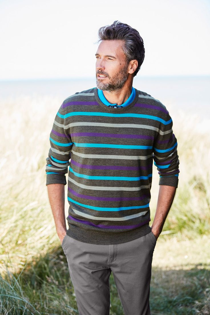 Our stripe crew neck jumper, great paired with a collared shirt underneath.