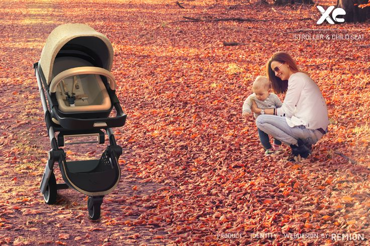 Yellow colour XE Stroller and Child Seat. Autumn, beach, love, mother and baby, Industrial Design by REMION, Budapest