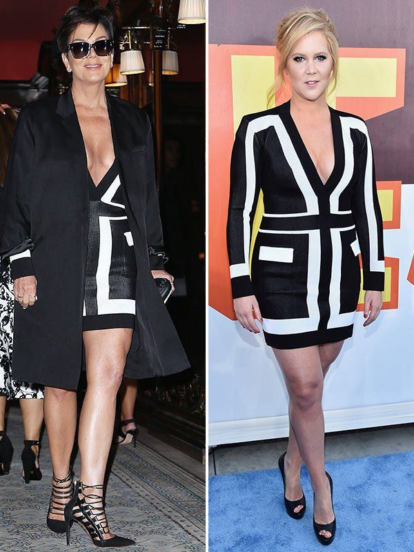 Momager and KUWTK star, Kris Kardashian, and comedian, Amy Schumer have completely different styles, but they were seen wearing the same black and white long-sleeved Balmain dress! Who do you think wore it better?