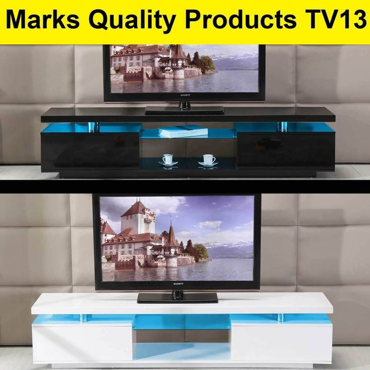 TV Entertainment Unit Stand Gloss Cabinet Lowline Shelf TV13 White & Black