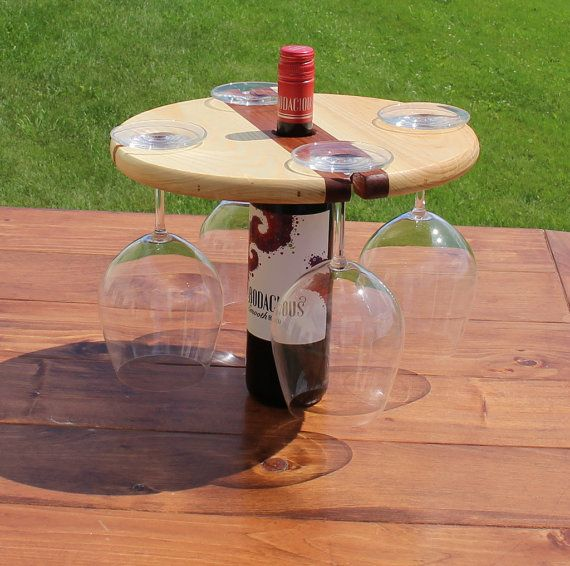 Wood Wine Bottle and Wine Glass Caddy