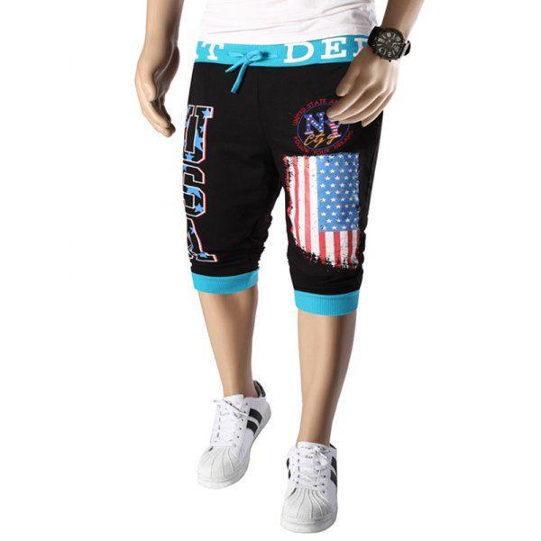Letters  American Flag Print Color Block Beam Feet Lace-Up Men's Capri Pants #jewelry, #women, #men, #hats, #watches, #belts, #fashion