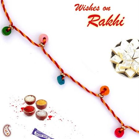 27f8f0a03cafd2fadfc02bbf47e17fe2 rakhi pictures of - Coloured Mauli Rakhi with crystals ORWPRS14002