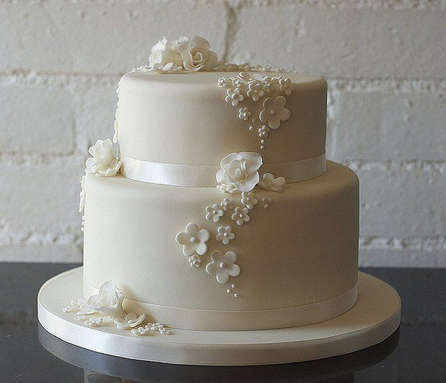 Two Tier Ercream Wedding Cakes Tiers Cake Simple Yet Fancy