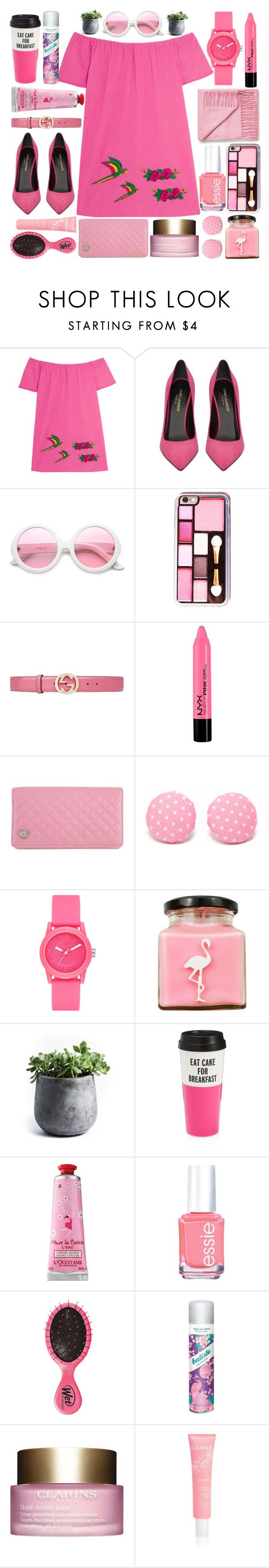 """Monday Pink"" by norairh ❤ liked on Polyvore featuring Sensi Studio, Yves Saint Laurent, ZeroUV, Gucci, Chanel, Laurafallulah, Skechers, Flamingo Candles, My Spirit Garden and Kate Spade"