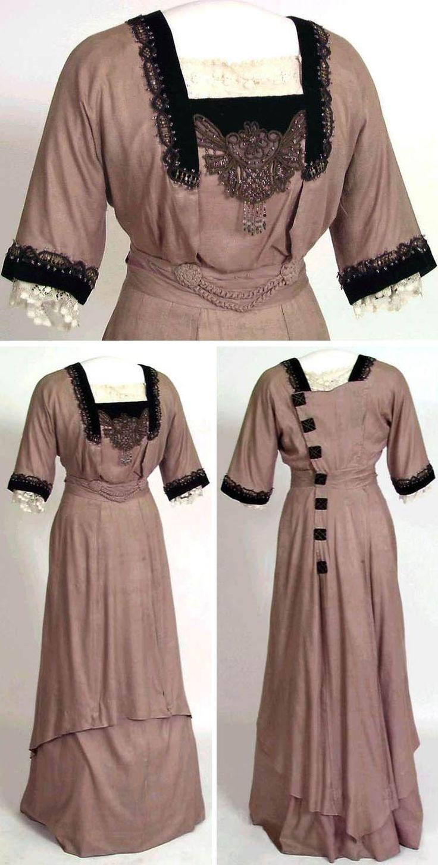 Dress, 1914. Silk, machine-made tulle. Norwegian Folk Museum via Digitalt Museum