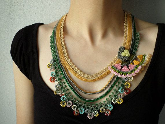 Beaded crochet necklace Humboldtia by irregularexpressions on Etsy