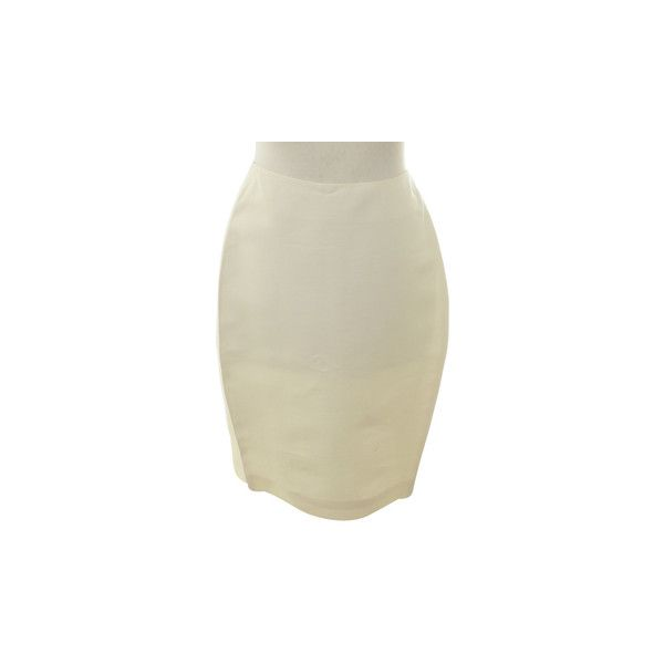 Pre-owned Pencil skirt in cream ($81) ❤ liked on Polyvore featuring skirts, cream, cream pleated skirt, pencil skirt, beige pencil skirts, cream skirt and knee length pencil skirt