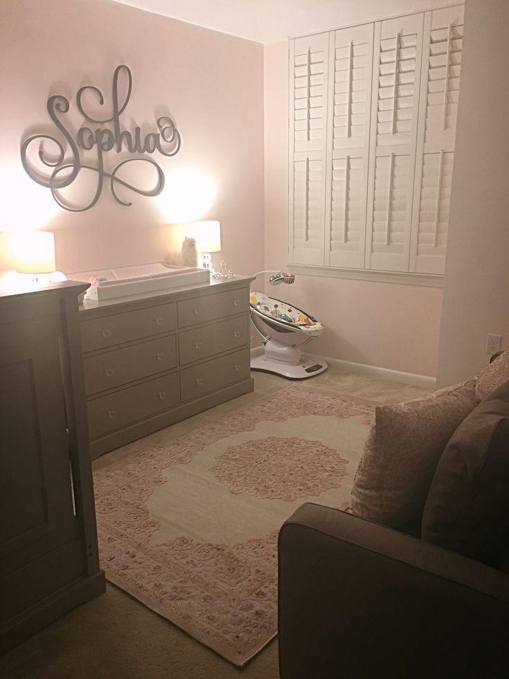 Pink and grey baby girl nursery; nursery rug; nursery wooden name decor