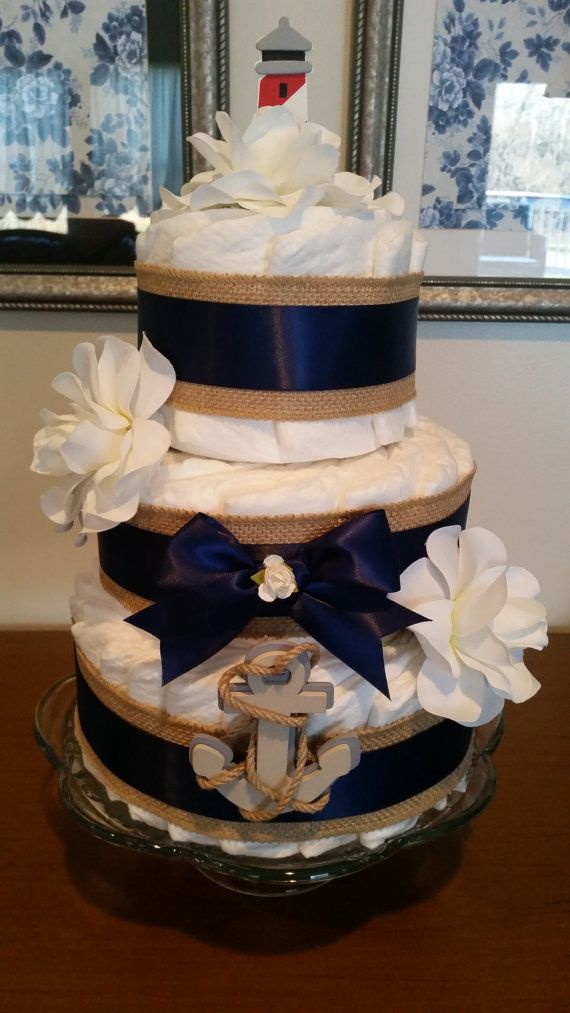Nautical Diaper Cake with Burlap Navy Double by ItsUpInTheAttic